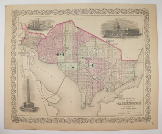 Antique Map Washington DC Map 1881 Colton Map Georgetown US