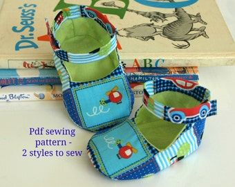 Baby Shoe Pattern, Baby bootie pattern, Cloth shoe pattern, Baby pattern, Sewing pattern, 2 styles to sew, PDF pattern - (S127)