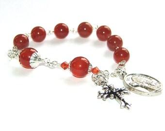 Saint Augustine Christian Chaplet Prayer Beads, Small Anglican Pocket Rosary