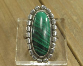 Vintage Sterling Silver Malachite Ring Size 7.25