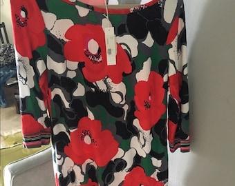 Trina Turk long sleeve flower print dress