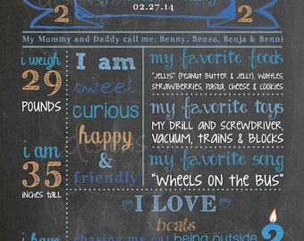 2nd Birthday Chalkboard Poster Sign Boy Cookie Monster Cowboy Puppy Dog