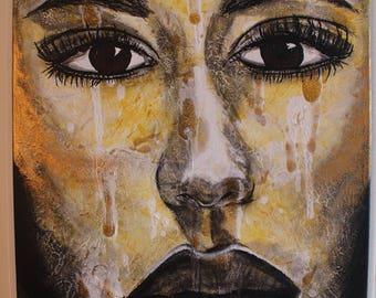 The Expelled - Pop Art Face Contemporary Acrylic Painting, Pop Art Gesicht zeitgenössisches Acryl-Gemälde