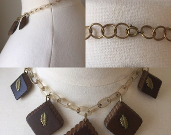 Wood Celluloid Necklace with Metal leaves