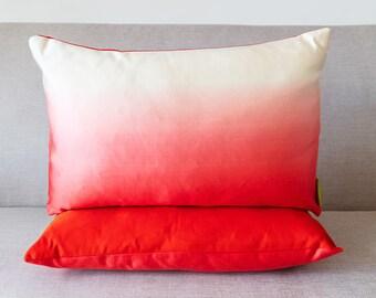 Pink Dip Dye Cushion, Boho Ombre Pillow, Upcycled Vintage Kimono Obi, Red Silk Back, White to Rose Pink Gradient Throw Pillows, Eco Friendly