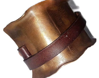 Etched Brass & Leather Half-Cuff