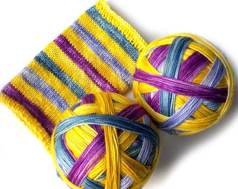 Self Striping MCN Sock Yarn Handdyed Merino Cashmere Nylon Yarn - Daffodils and Butterflies