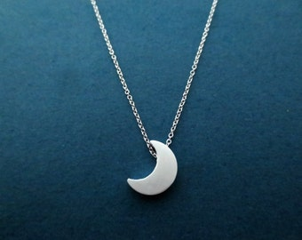 Crescent, Moon, Silver, Necklace, Half moon, Jewelry, Birthday, Best friends, Sister, Gift, Jewelry