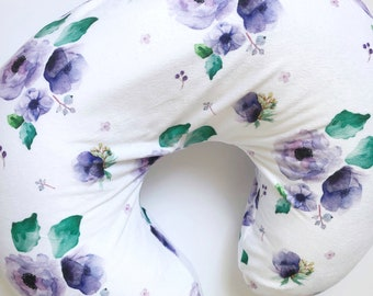 Floral Boppy Cover, Purple Floral, Boppy Cover, Nursing Cover, Baby Girl, Baby Girl Nursery, Lavender, Lilac Floral, Baby Girl Gift