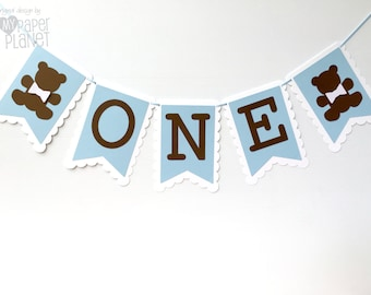 Blue ONE Banner - Teddy Bear. First birthday party, bunting, garland, dessert table. Brown teddy bears. Photo prop. Baby boy baby shower.