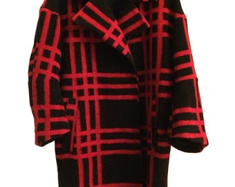 Black Red Check Wool coat