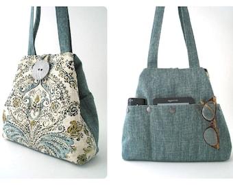 womens handbags, tote bag converts to hobo bag, retro purse, fabric handbag, shoulder bag, hamsa bag, totes with pockets