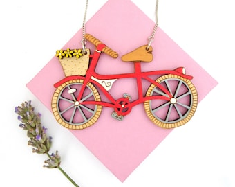 Red bike necklace with flowers. Hand painted laser cut statement necklace. Summer accessories, colourful jewellery. Cycling/bike lover gift