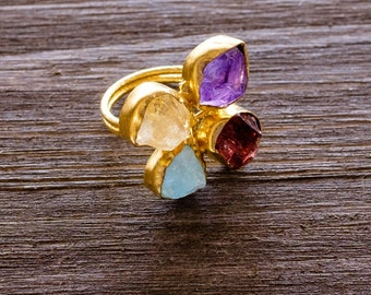 Rough Raw Gemstone Adjustable  Ring