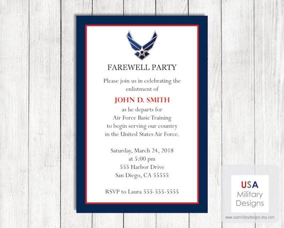 air force farewell invitation printable us air force farewell
