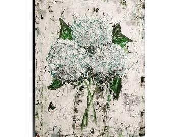 Abstract Botanical Hydrangeas painting Original Art Print Canvas