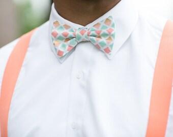 Coral Mint Bow Tie, Coral Bow Tie, Mint Bow Tie,Mint Neck Tie,Toddler Bow Tie, Coral Neck Tie,Peach Bow Tie,Boy Bow Tie, Boys Bow Tie