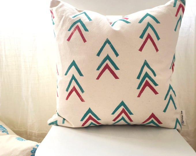Organic canvas pillow with handprinted chevrons - turquoise and red
