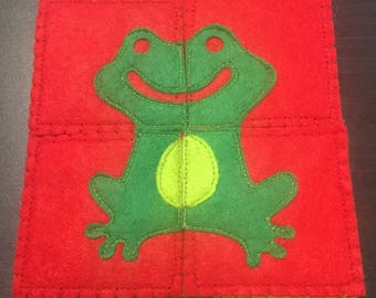 4 felt puzzle pieces for children baby frog - educational games