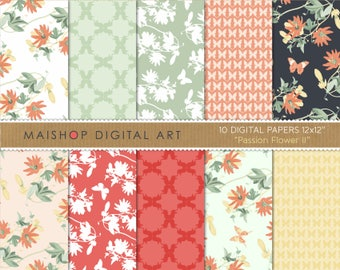 Floral Digital Paper 'Passion Flower II' Passiflora, Butterflies, Geometric Papers... for Cards, Invites, Crafts, Scrapbook...