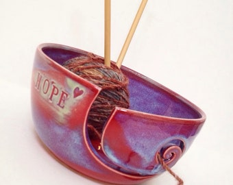 Hope- Purple Blue Spiral Ceramic Wheel Thrown Yarn Bowl - MADE TO ORDER