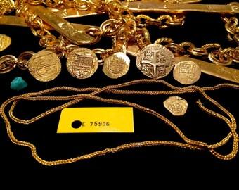 "GOLD CHAIN 1715 FLEET shipwreck artifact queens jewels relic money chain 30"" coa"
