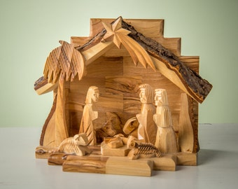 E22/Olive Wood Nativity set /carved nativity with stable/ Holy Land