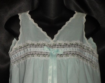 Vintage Baby Blue/Green 1950's Cotton Sears Babydoll Panties Set M