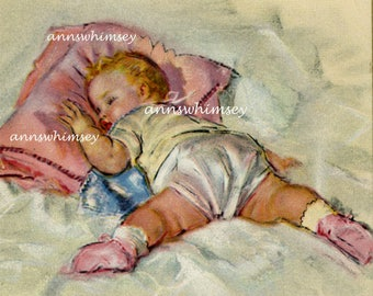 "Baby Girl's Room Print ""Nap Time"" Restored Antique Art #550"