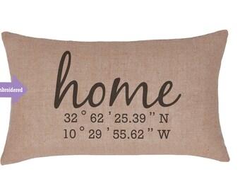 Burlap Embroidered Lumbar Pillow, Housewarming Gift, Longitude Latitude pillow, wedding gift, coordinates Cushion, New Home, Throw Pillow