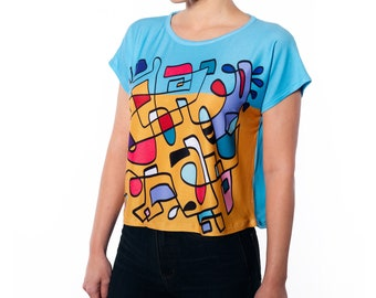 Colorful Abstract Hand Drawn Print Boxy Tee