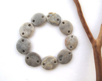 Beach Stone Beads Double Drilled Mediterranean Stones Natural Stone Pebble Beads Rock Links Diy Jewelry Connectors GRAY LINKS 15-16 mm