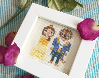 Beauty and Beast Inspired Mini Cross Stitch (Framed)