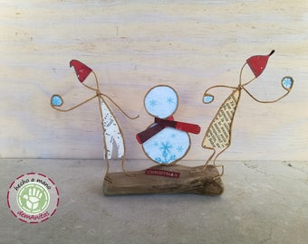 White Christmas on wood - Machangos Paper Art