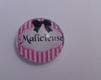 "Funny ""mischievous"" writing in 20 mm round domed cabochon"