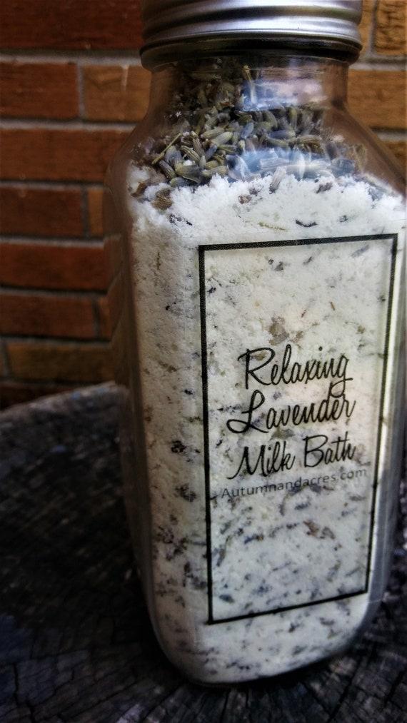 Relaxing Lavender Milk Bath in a Glass Milk Bottle