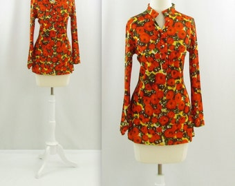 Poppy Fields Tunic Blouse - Vintage 1970s Women's Top in Small Medium