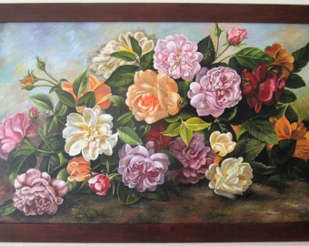 Large Original acrylic painting on canvas Colorful Flowers with frame