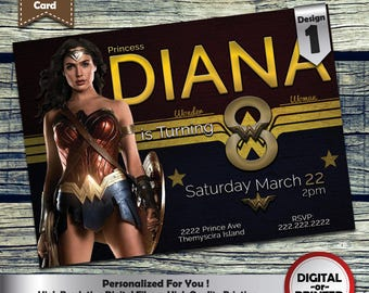 Wonder Woman Birthday Party Invitation customized printable invite for girls of any age + Free Thank You Card