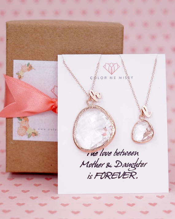 Rose Gold Round Glass drop Jewelry Set - Necklace, gifts for her, earrings, bridal gifts, pink rose gold weddings, bridesmaid jewelry N234