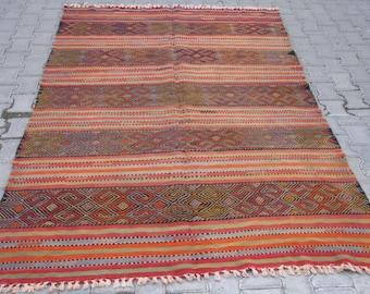 DINING ROOM RUG-Hand Embroidered Vintage Kilim Rug-Striped Geometric Kilim-Area Rug,Large Kilim-Living Room Rug-Living Room Kilim-Boho Kilim