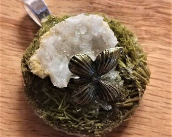 Mossy Geode Pendant