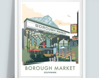 Borough Market, London Travel Poster