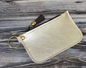 Light Gold Soft Faux Leather Coin Pouch