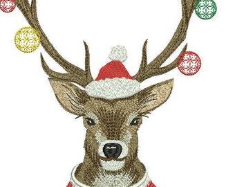 Embroidery design, New Year Новый год, Christmas Рождество, deer олень, elk лось, Santa Claus, animal животные, ball шар, toy игрушка