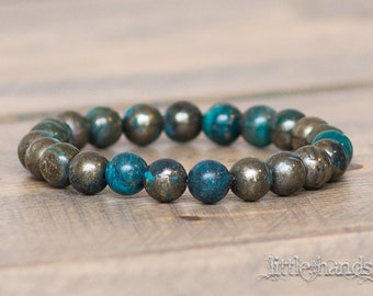 Aqua Blue Pyrite Beaded Bracelet
