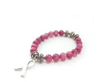 Pink Awareness Bracelet - Breast Cancer Survivor Jewelry - Fossil Stones, Bali-Style Beads - Silver Ribbon Charm - Charity Donation