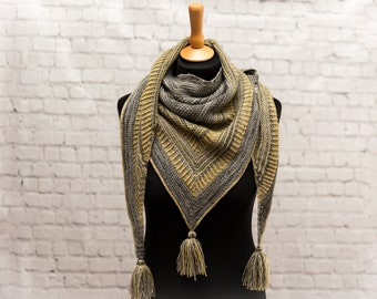 Beautiful Hand Knit Tassle Shawl, Scarf - Merino Wool - Grey, Chartreuse - READY TO SHIP