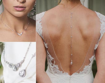 Back Necklace Wedding, Silver Backdrop Necklace, Back Chain, Bridal Accessories, Necklaces for women, Backless dress Necklace, NB056-S