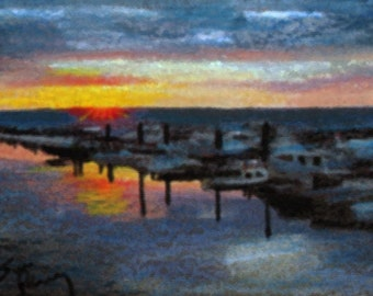 original art  aceo drawing sunset harbor boats seascape